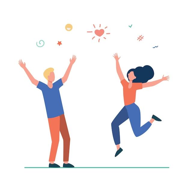 Счастливая молодая пара весело. девушка и парень танцуют на вечеринке, празднуя плоскую иллюстрацию хороших новостей. Бесплатные векторы
