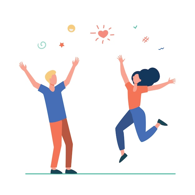 Happy young couple having fun. girl and guy dancing at party, celebrating good news flat illustration. Free Vector