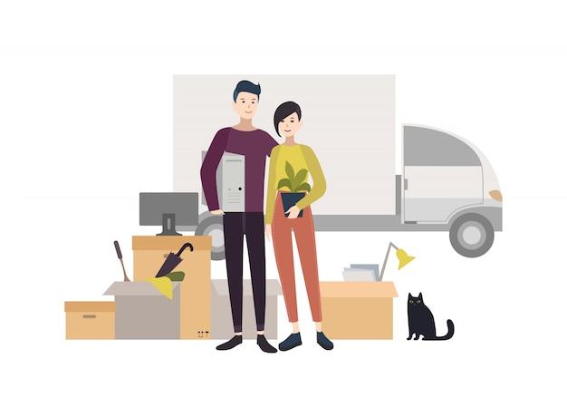 것 들으로 새 집으로 이사하는 행복 한 젊은 커플. 스타일의 만화 그림. 프리미엄 벡터