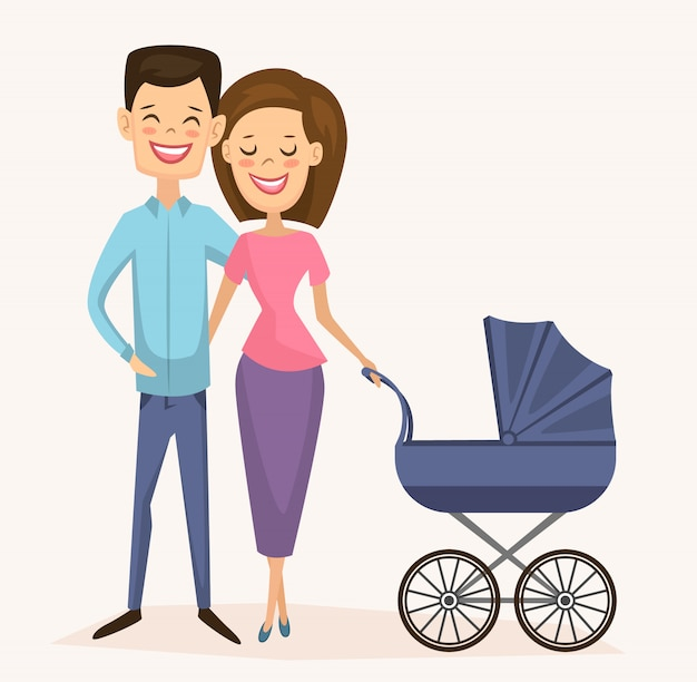 Happy young family couple with baby carriage Premium Vector