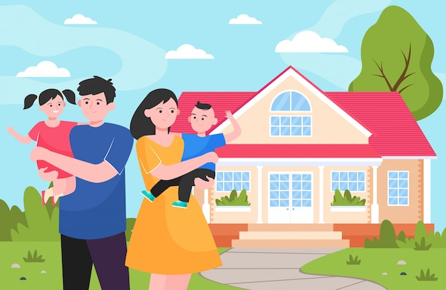 Happy young family standing in front of house Free Vector