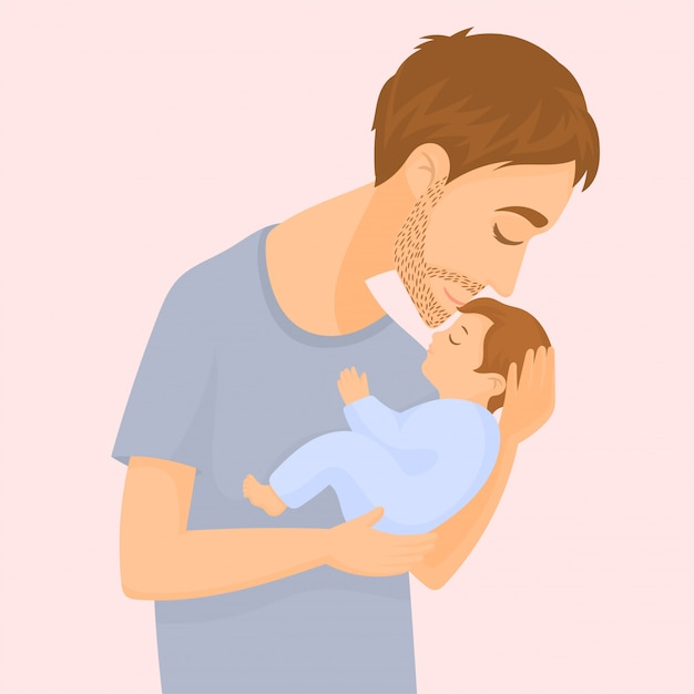 Happy young father holding and kissing a baby Premium Vector