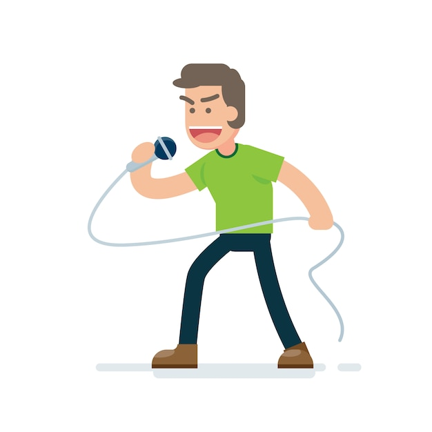 Happy young handsome man singing with microphone Premium Vector