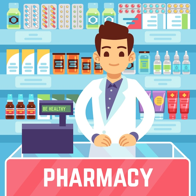 Happy young man pharmacist sells medications in pharmacy or drugstore. pharmacology and healthcare vector concept Premium Vector