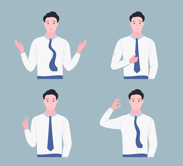 Счастливый молодой человек показывает набор жестов. жест вроде, круто, ладно, ой, победа. плоский мультяшный стиль. Premium векторы