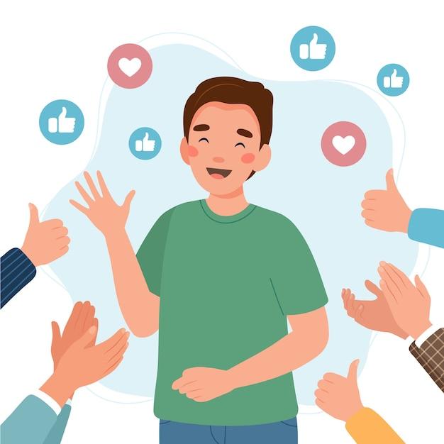 Счастливый молодой человек в окружении рук с большими пальцами руки и аплодисментами Premium векторы