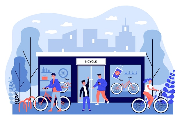 Happy young people buying bicycles in store. shop, vehicle, wheel   illustration. transportation and urban lifestyle concept for banner, website  or landing web page Premium Vector