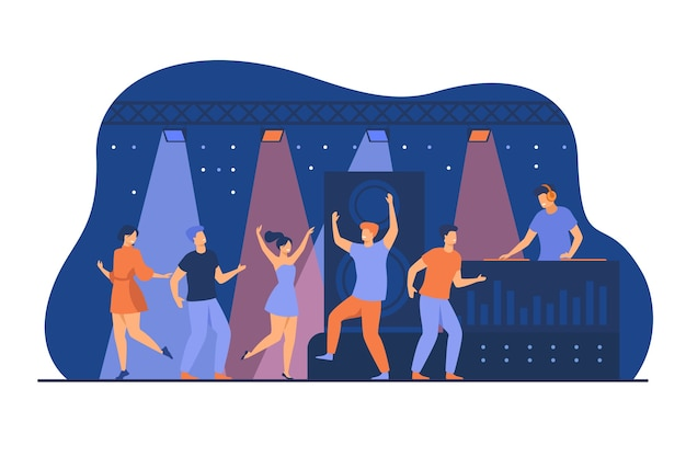 Happy young people dancing in club isolated flat vector illustration. cartoon characters enjoying dance at disco night party. dj scene performance and entertainment concept Free Vector
