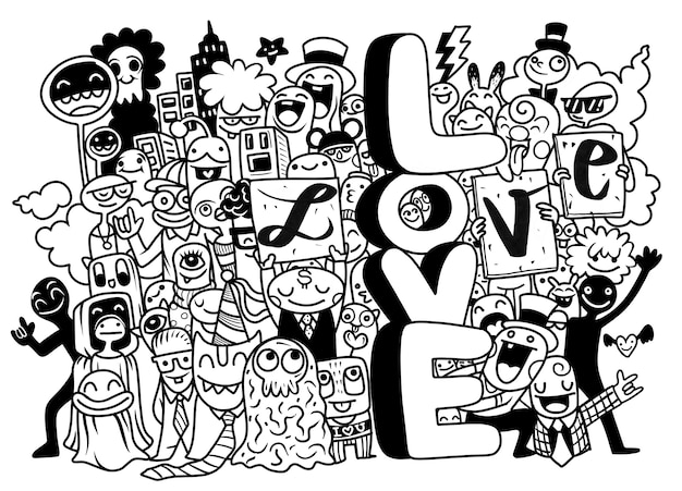 Happy young people holding letters love black and white illustration Premium Vector