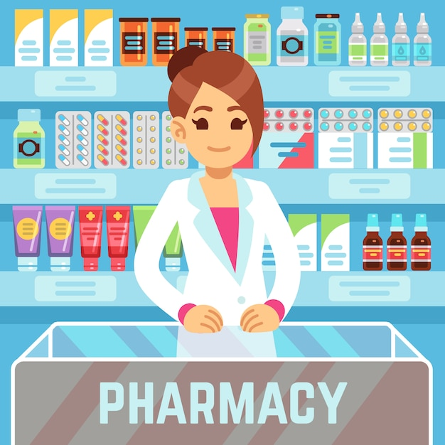 Happy young woman pharmacist sells medications in pharmacy interior Premium Vector
