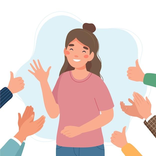 Счастливая молодая женщина, окруженная руками с большими пальцами руки и аплодирующими Premium векторы
