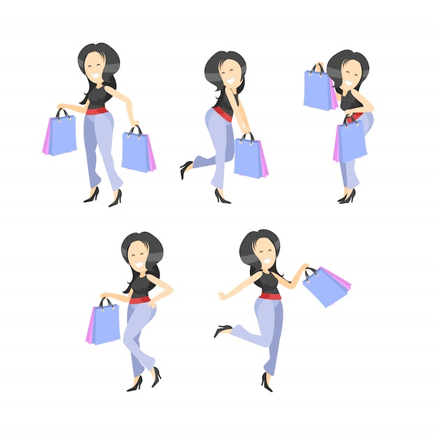 Happy young women with shopping bags Premium Vector