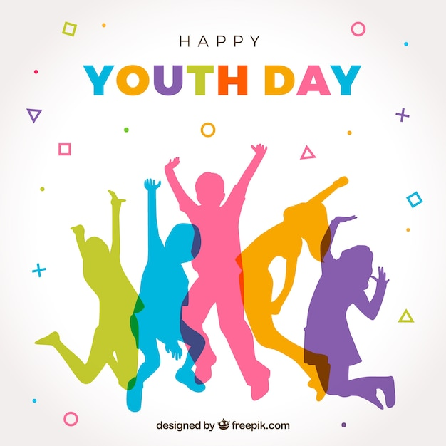 Happy youth day background with colorful silhouettes Free Vector