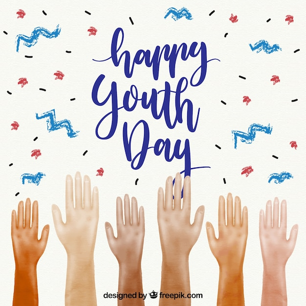 Happy youth day background with raised hands