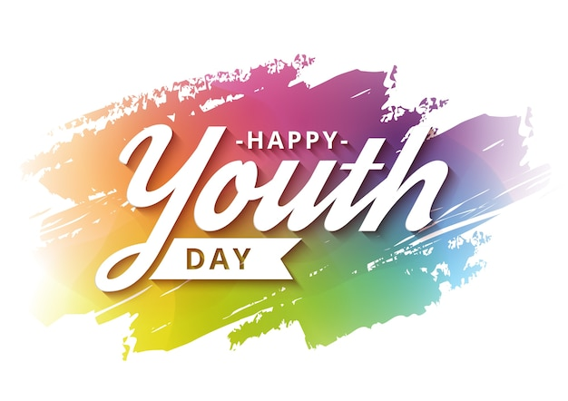 Happy youth day banner campaign with colorful background Premium Vector