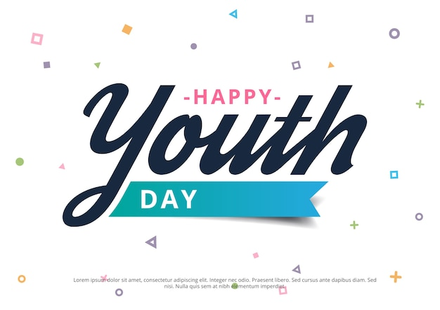 Happy youth day banner with geometrical background Premium Vector