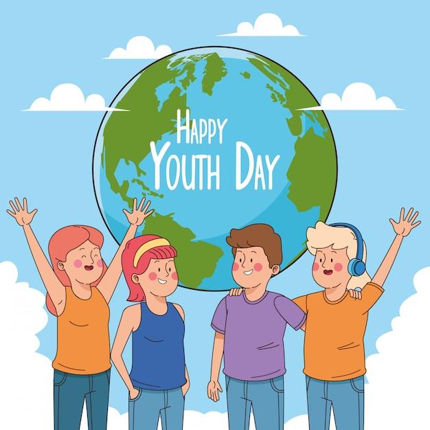 10代の若者の漫画と幸せな青春日カード 無料ベクター