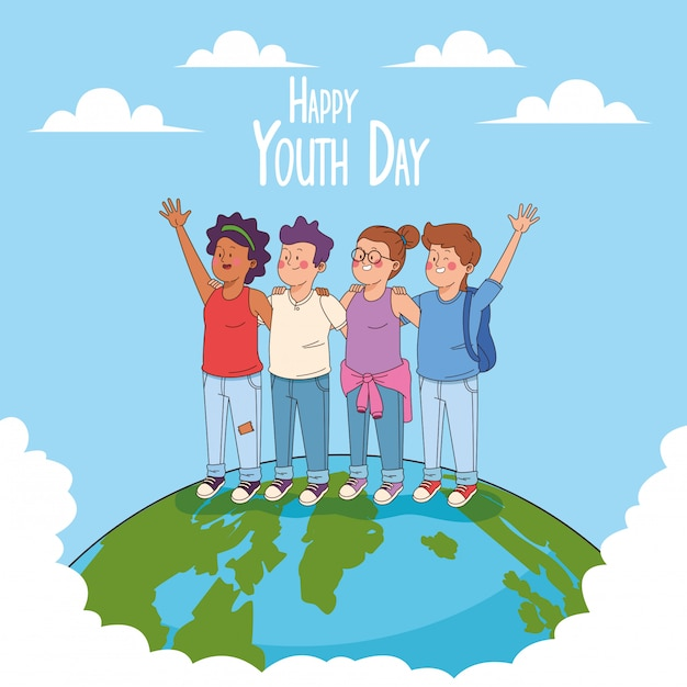 Happy youth day card with teenagers cartoons Free Vector