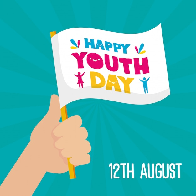 Happy youth day flag Free Vector