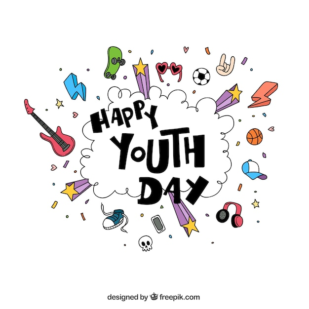 Happy Youth Day Sketches Background Vector Free Download