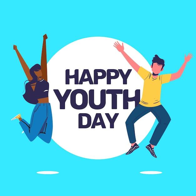 Счастливый день молодежи со счастливыми людьми Бесплатные векторы