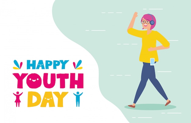 Happy youth day Free Vector