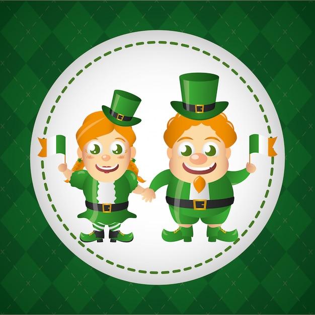 Happy ирландский лепрекон лейбл, день святого патрика Бесплатные векторы