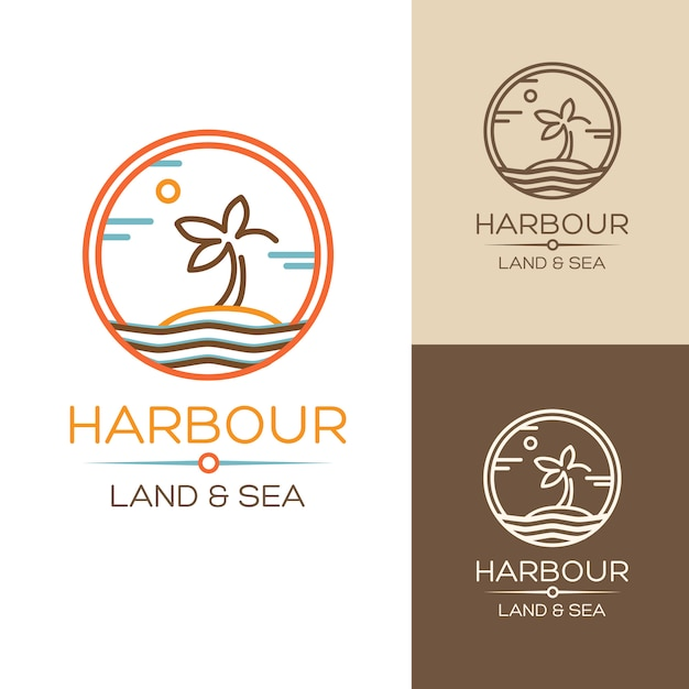 Harbour. land and sea. illustrations set with palm on the island Free Vector