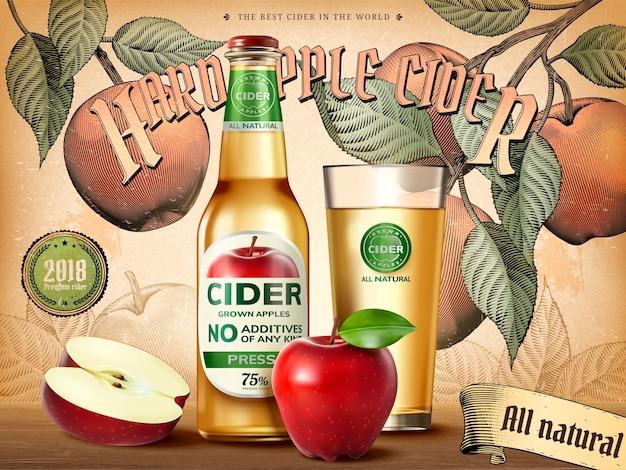 Реклама твердого яблочного сидра, освежающий напиток с реалистичными яблоками и контейнерами на иллюстрации, фон в стиле ретро-гравировки Premium векторы