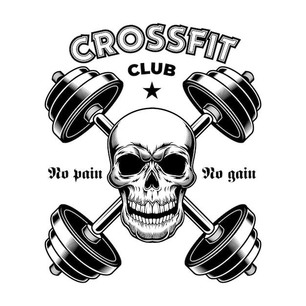 Palestra atletica dura. emblema vintage crossfit, teschio bodybuilder con bilancieri Vettore gratuito