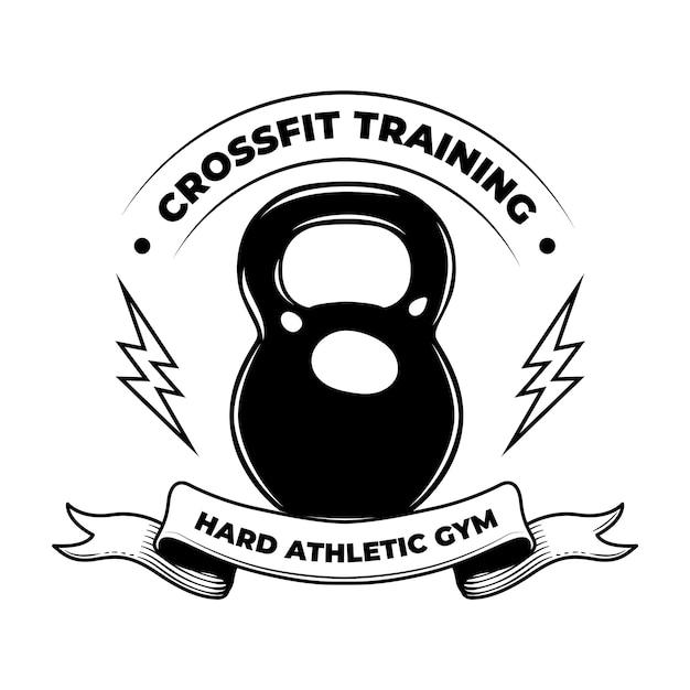 Жесткий кроссфит. эмблема винтаж тренировки фитнеса, культурист Бесплатные векторы