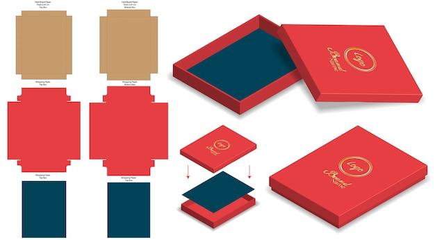 Hard rigid box 3d mockup with dieline template Premium Vector
