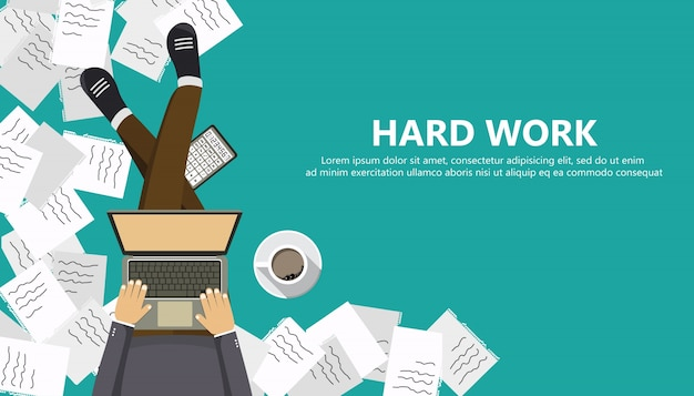 Hard work business concept Free Vector