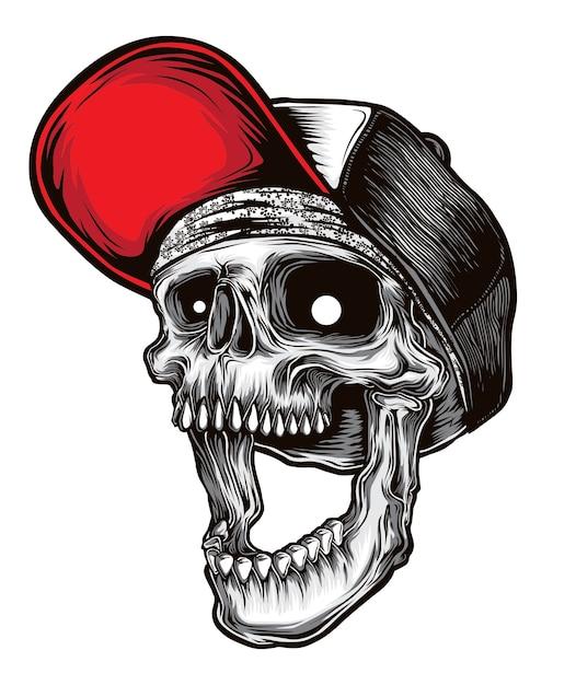 Hardcore skull vector Premium Vector