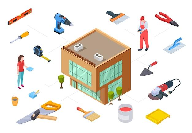 Концепция хозяйственного магазина. строительные принадлежности изометрической коллекции. вектор 3d магазин строительных материалов инструменты для строительства ремонт дизайна. инструмент для ремонта оборудования Premium векторы