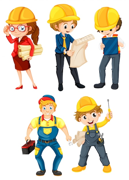 Hardworking people Free Vector