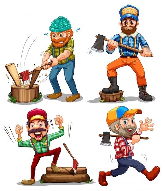 Hardworking woodmen Free Vector