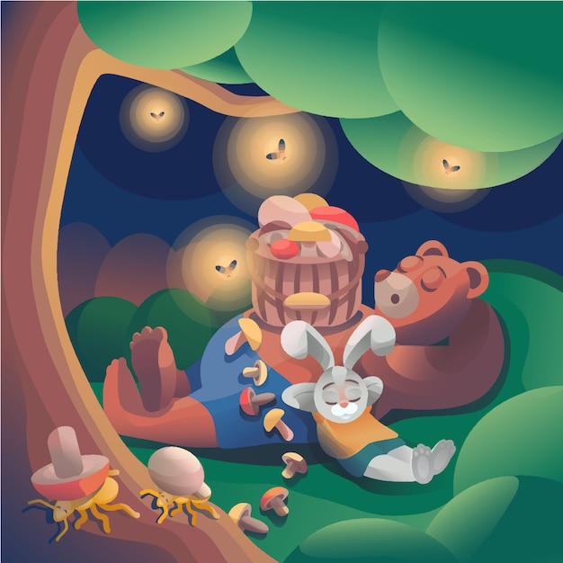 Заяц и медведь в луковом лесу Premium векторы