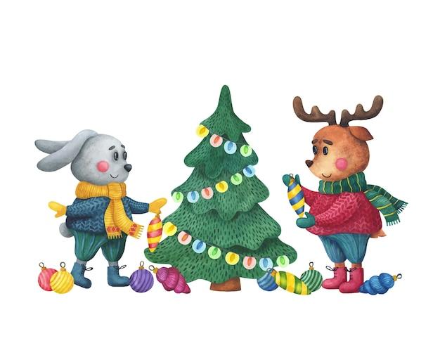 Заяц и олень украшают елку. милые животные готовятся к новому году. Premium векторы