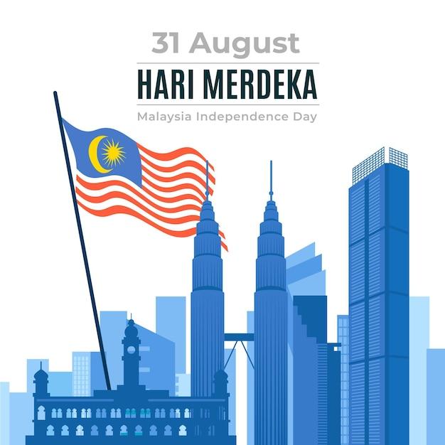 Hari merdeka con edifici e bandiera Vettore gratuito