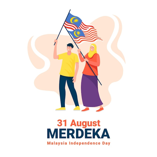 Hari merdeka with people holding flags Free Vector