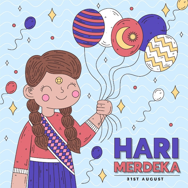 Hari merdeka with person holding balloons Free Vector