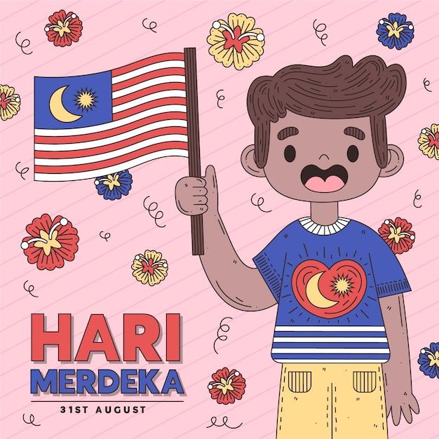 Hari merdeka con persona che tiene la bandiera Vettore gratuito