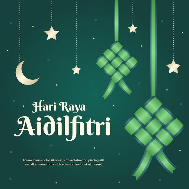 Hari raya aidilfitri ketupat nella notte Vettore gratuito