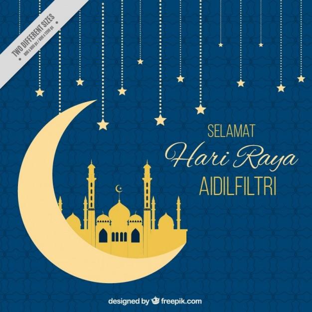 Hari Raya Blue Background With Moon And Stars