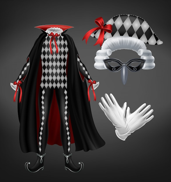 Harlequin costume with cape, starched wig, mask and white gloves isolated on black background. Free Vector