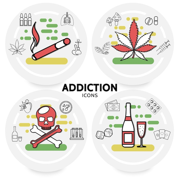 Harmful addictions concept with cigarette marijuana leaves sick lungs hookah skull alcohol money dice Free Vector