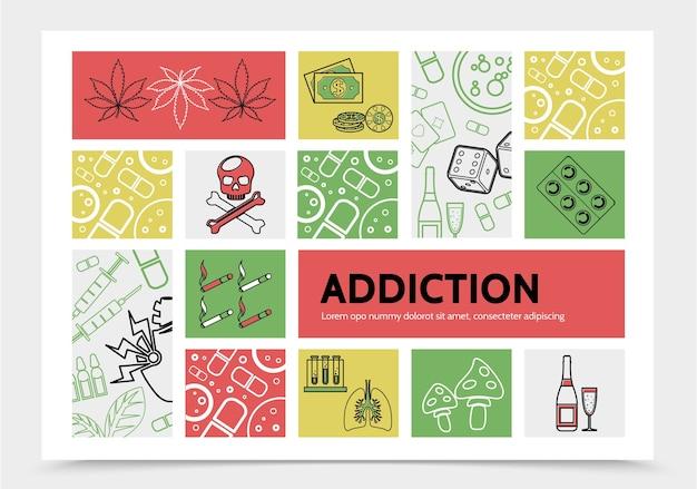 Инфографическая концепция вредных пристрастий с марихуаной оставляет деньги, чипсы, кости, черепа, сигареты, наркотики Бесплатные векторы