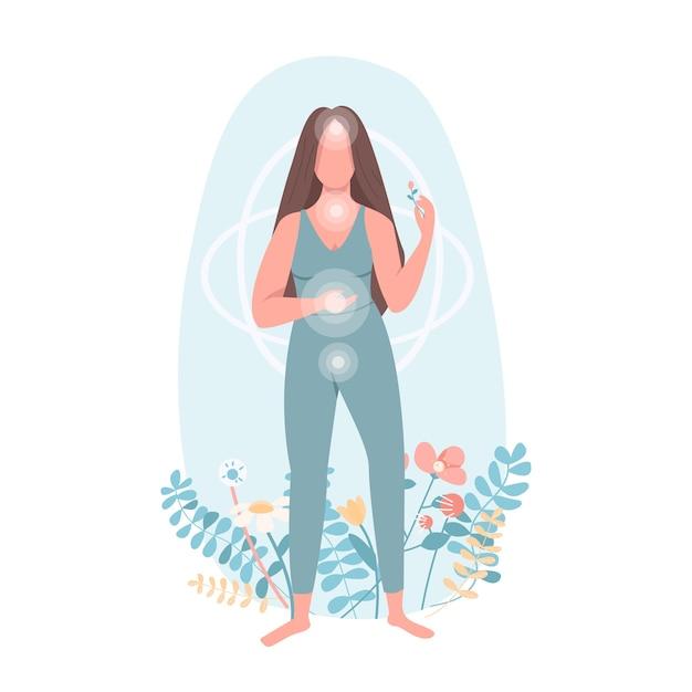 Гармония плоского цвета безликого персонажа. здравоохранение женщин. хорошее самочувствие тела. практика йоги. чи-центры. духовность изолированных иллюстрация шаржа Premium векторы