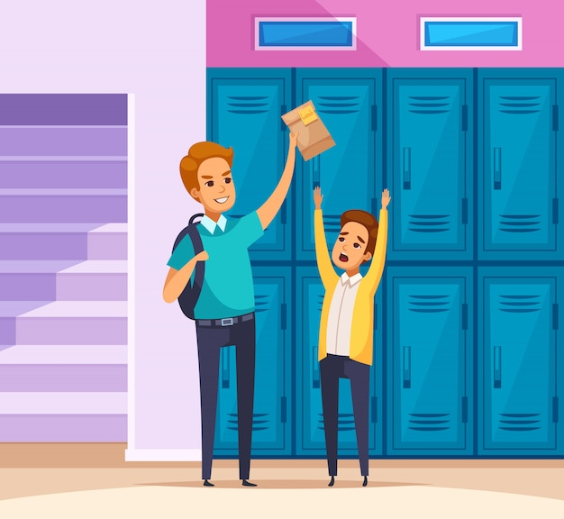 Harrassment at school composition Free Vector